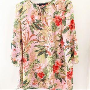 J. Jill NWT Tropical floral pink tunic top M